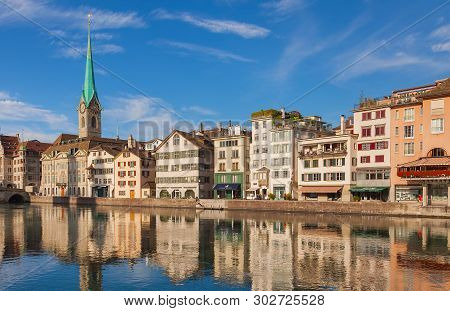 Zurich, Switzerland - August 14, 2011: Buildings Of The Historic Part Of The City Of Zurich Along Th