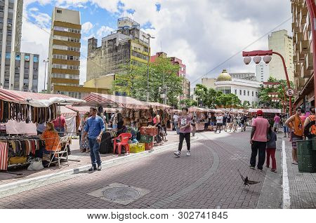 Sao Paulo Sp, Brazil - March 03, 2019: People At The Street Market Known As Feira Da Liberdade (libe