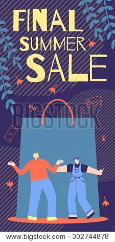 Informative Poster Final Summer Sale Cartoon Flat. Men In Daily Clothes Enjoy Discounts On Right Pro