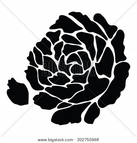 Cute Monochrome Rose Petals Silhouette Cartoon Vector Illustration Motif Set. Hand Drawn Black And W