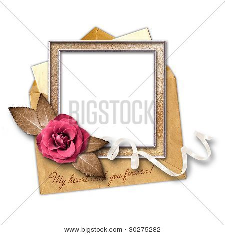 Love Letter And Gold Frame With A Decorative Pattern.