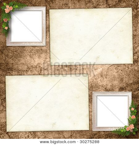 cards For Greeting Or Invitation On The Vintage Background.