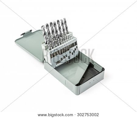 Drill bit set in metal box on white background