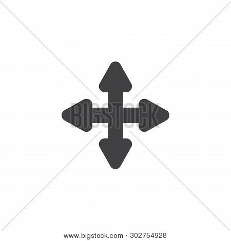 Four Directions Arrows Vector Icon. Extend, Resize, Enlarge Filled Flat Sign For Mobile Concept And
