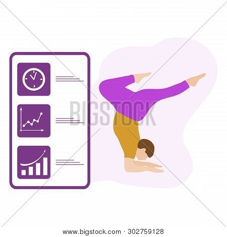 Vector Illustration With Person Does Yoga Exercise, Yoga Pose And Display With Yoga App. Yoga For Ev
