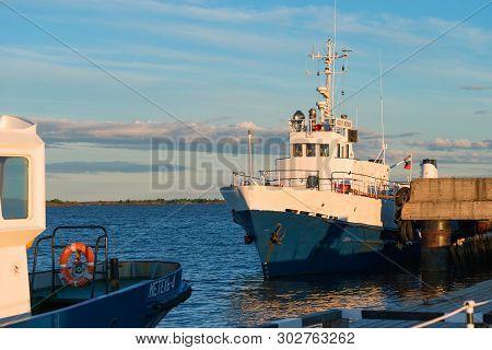 Kem, Republic Of Karelia, Russia - June 24, 2018: Ship Vasily Kosyakov At The Pier Aista In The Summ