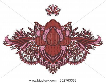Lotus Flower Ethnic Symbol.tattoo Design Motif, Decoration Element. Sign Asian Spirituality,nirvana