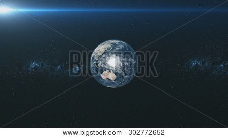 Spin Earth Orbit Meteor Glow Starry Background. Planet Fast Motion Universe Celestial Constellation World Map Deep Space Exploration Concept 3D Animation