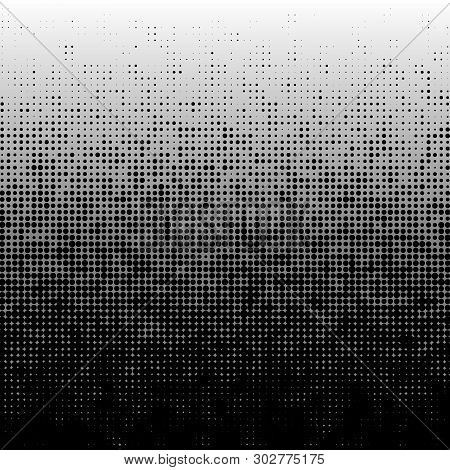 Dots Halftone Pattern With Gradient Effect. Gorizontal Lines. Template For Backgrounds And Stylized
