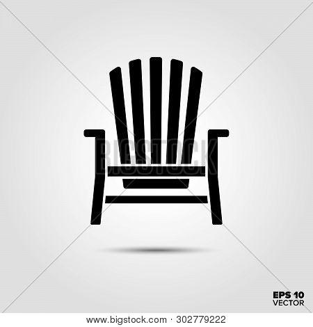 Adirondack Deck Chair Vector Icon. Summer Vacation And Seaside Resort Symbol.