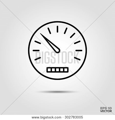 Speedometer And Odometer Vector Icon. Automotive Parts, Repair And Service Symbol.