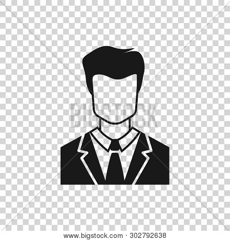 Grey User Of Man In Business Suit Icon Isolated On Transparent Background. Business Avatar Symbol -