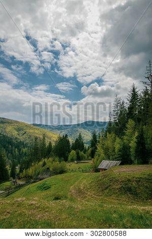 Landscape In The Mountains Of Yaremche, Carpathians, Ukraine. Mountain Sky Clouds. Beautiful Alpine