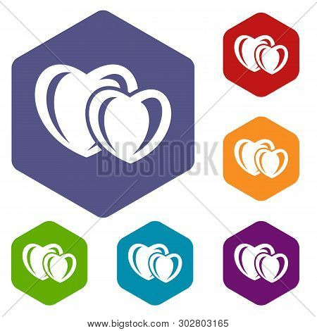 Heart Love Icons Vector Colorful Hexahedron Set Collection Isolated On White
