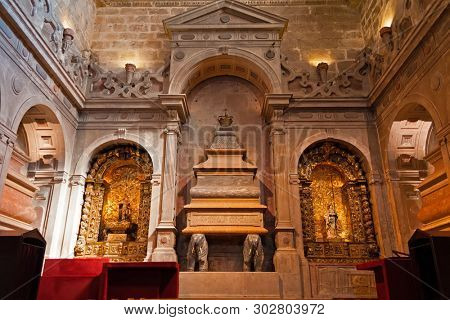 Lisbon, Portugal - June 30, 2018: Tomb of King Dom Henrique I at Jeronimos Monastery or Abbey aka Santa Maria de Belem. UNESCO World Heritage Site. Manuelino or Manueline art.