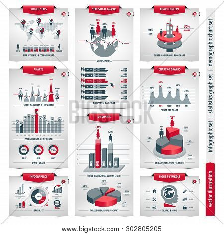 Vector Set Of Infographic Elements Containing Population Demographics Design, Business Statistical L