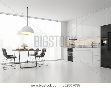 Minimal Style Kitchen And Dining Room 3d Render.there Are White Floor And Wall, Glossy White Cabinet