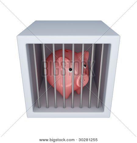 Rosa Sparschwein in einem Gefängnis.