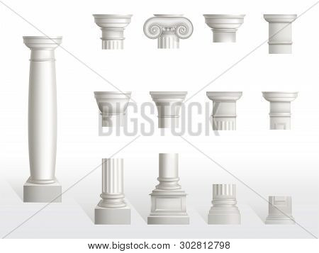 Parts Of Ancient Column, Base, Shaft And Capital Set. Ancient Classic Ornate Pillars Of Roman Or Gre