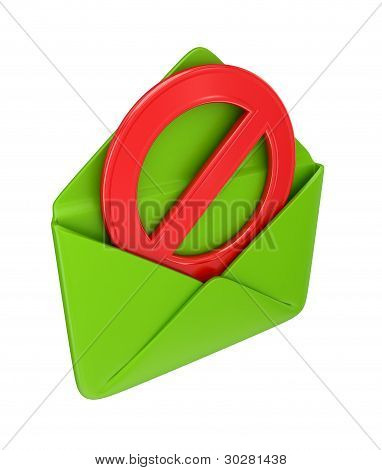 Green envelope and red STOP sign.