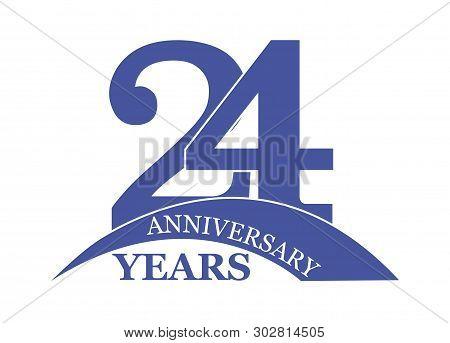 Date 24 Years For Birthday Greetings Wedding Or Anniversary, Logo