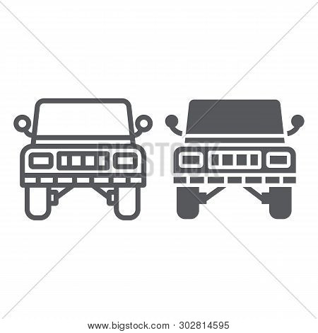 Offroad Car Line And Glyph Icon, Transportation And Auto, Suv Sign, Vector Graphics, A Linear Patter