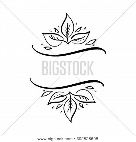 Autumn Vector Illustration Leaves Border Frame With Space Text Background. Black Brush Doodle Sketch