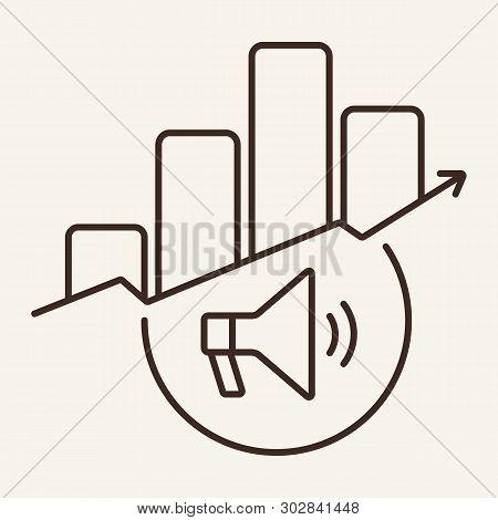 Pr Campaign Graph Line Icon. Megaphone, Growth Diagram, Bar Chart. Marketing Concept. Vector Illustr