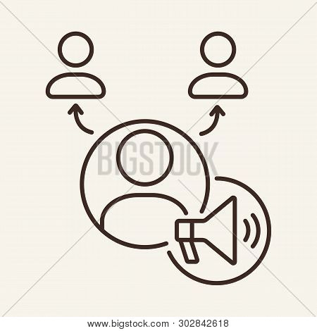 Promotion Group Line Icon. Team Structure, Workgroup, Tree Chart, Loudspeaker. Marketing Concept. Ve