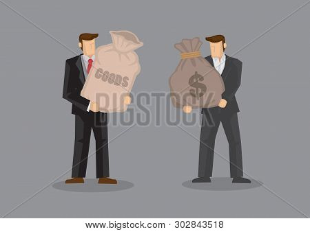 Two Cartoon Man, One Holding A Sack With Label Reads Goods And The Other Carrying A Sack With Dollar