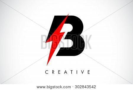 B Letter Logo Design With Lighting Thunder Bolt. Electric Bolt Letter Logo Vector Illustration.