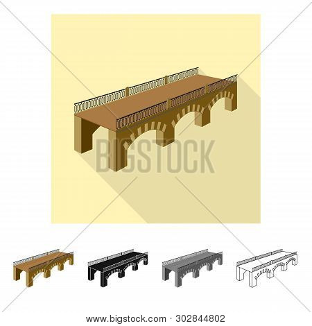 Isolated Object Of Bridge And Relocation Symbol. Collection Of Bridge And Column Vector Icon For Sto