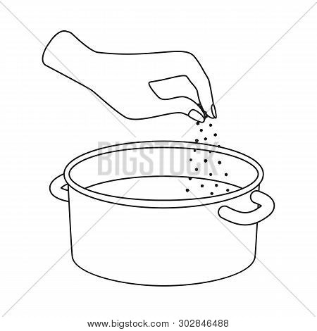 Isolated Object Of Casserole And Water Icon. Set Of Casserole And Arm Stock Symbol For Web.
