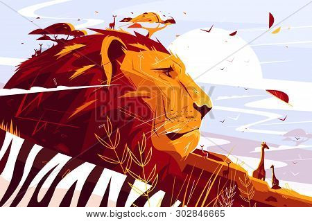 Majestic Lion On Safari Vector Illustration. King