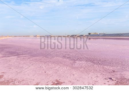 Brine And Salt Of A Pink Lake, Colored By Microalgae Dunaliella Salina, Famous For Its Antioxidant P