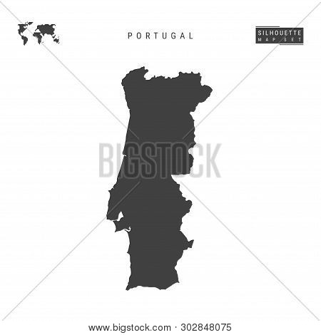 Portugal Blank Vector Map Isolated On White Background. High-detailed Black Silhouette Map Of Portug