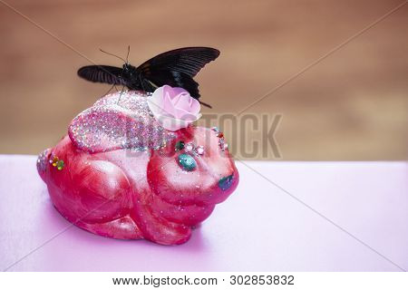 Ceramic Pink Bunny Butterfly Incept Day Light