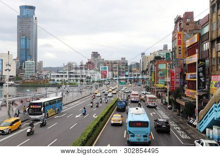 Keelung, Taiwan - November 24, 2018: Traffic In Keelung, Taiwan. Keelung Is The 9th Most Populous Ci
