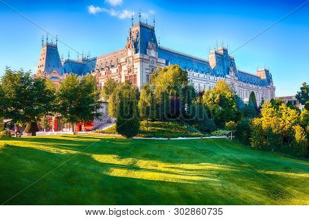 The Palace Of Culture Edifice In Iasi . Fantastic Sunny Scene Summer Cityscape Of Iasi Town, Capital