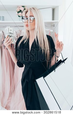 Posh Girl Wasting Money For Shopping In Luxury Boutique, Buying Expensive Dresses. Spoiled Lady Life