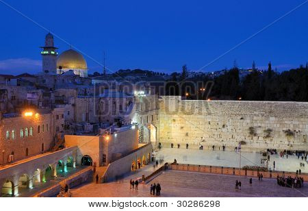 The Western Wall, also known at the Wailing Wall or Kote, is the remnant of the ancient wall that surrounded the Jewish Temple's courtyard in jerusalem, Israel.