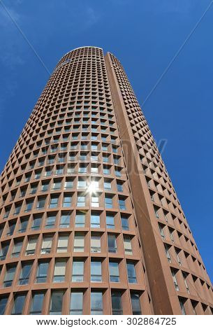 Lyon, France - August 16, 2018: Modern High Skyscraper Called Part-dieu Tower And Blue Sky In Backgr