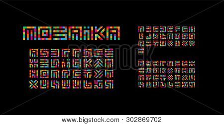 Mosaic Ukrainian, English And Russian Alphabet. Maze Typography Design. Creative Art Style Vector La