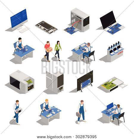 Warranty Service Isometric Icons Set Of Electronics And Household Appliances Need Of Diagnostics Or