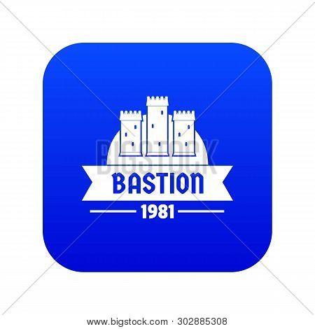 Kingdom Bastion Icon Blue Vector Isolated On White Background