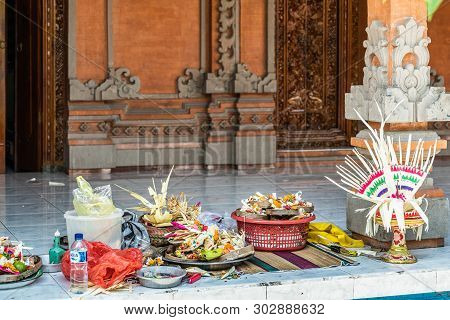 Dusun Ambengan, Bali, Indonesia - February 25, 2019: Display Of A Selection Of Food And Hand-made Or