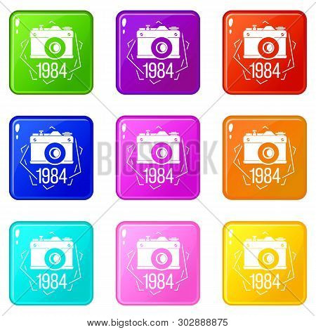 1984 Photo Camera Icons Set 9 Color Collection Isolated On White For Any Design