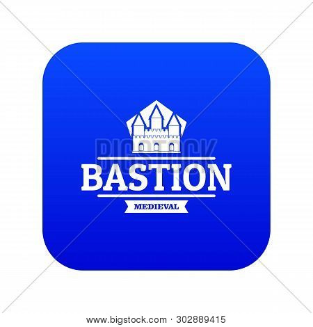 Bastion Medieval Icon Blue Vector Isolated On White Background