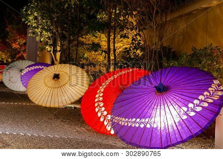 Japanese Umbrella In Kyoto, Japan. Image Of Japanese Culture.