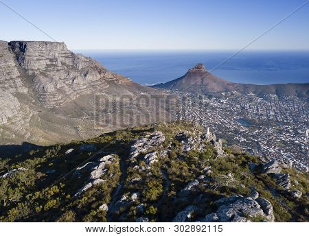 Aerial View Over Table Mountain And Cape Town, South Africa
